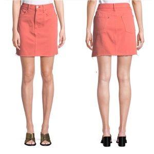 Rag & Bone Moss Denim Raw Edge Hem Coral Skirt